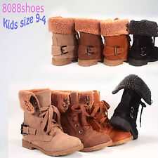 Girl's Kid's Cute Low Heel Cute Combat Lace Up Military Boot Shoes Black  9 to 4