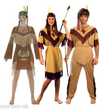 Adult Indian Costume Ladies Mens Wild West Squaw Pocahontas Fancy Dress Costume