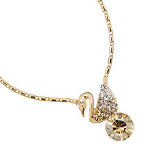 Swan Pendant Crystal Necklace,Large Stud Earrings Jewellery Sets under £30 Gold
