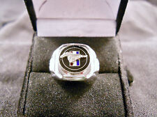 Classic 60s Style MUSTANG PONY Relief Cloisonne Nickel Silver Ring Black Chrome