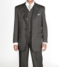 Men's 3 piece Fashion Tone on Tone Stripe Suits w/Vest Black 29197