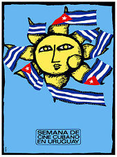 976 Cuban Film week in Uruguay Art Decor POSTER.Graphics to decorate home office