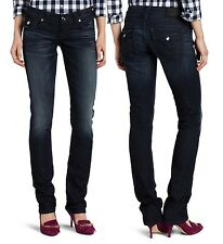 NEW TRUE RELIGION JEANS WOMEN BILLY SUPER COOL CRYSTAL TONAL STITCH DARK BLUE