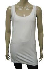 Womens B.C Long Vest Tank Top Loose Fit STRETCH Ivory White Size 10 to 28