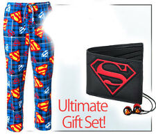 "Superman Gift Set! Men's Fleece Pajamas, Wallet, Headphones, 10"" Tablet Case"