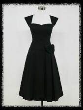 dress190 BLACK CAP SLEEVED 40s 50s ROCKABILLY PIN-UP VINTAGE SWING PARTY DRESS