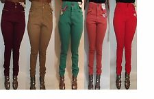 Women ladies coloured high waisted skinny slim fit stretch denim jeans size 6-20