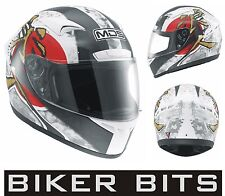 MDS (AGV) M13 RONIN White/Red Motorcycle Helmet sizes XS-S-M-L-XL cheap £59.99