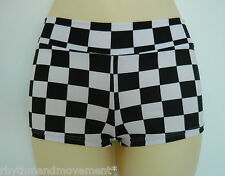 Hotpants Black & White Check ADULTS X/S to Lge Pole Dancing Roller Derby Shorts