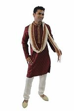 Burgundy  Men Kurta Designer Indian Wedding Formal Clothing With Free shaw