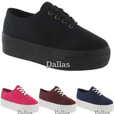 LADIES CANVAS SHOES GIRLS RETRO LACE UP BLACK PLATFORM PLIMSOLES TRAINERS SIZE