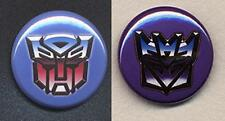 TRANSFORMERS pair of Badges - AUTOBOTS and DECEPTICONS  -  25mm and 56mm size!