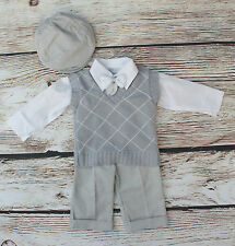 Baby Boy Wedding Christening Formal Party 5 Piece Outfit Set 0-18 M 64/68/74/86