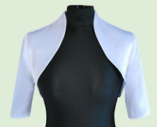 New Women Silver Wedding Prom Satin Bolero Shrug Jacket  Size UK S M L XL XXL