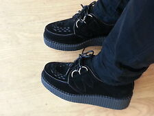 NEW WOMENS FLATFORMS BROTHEL FAUX SUEDE CREEPERS LONDON UNDERGROUND STYLE PUNK