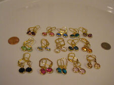 Leverback Dangle Earrings Small Circles 12 Colors With Swarovski Crystals