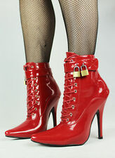 LOCKABLE HIGH HEALED BOOTS RED LACE UP 12cm (Ballet Boots, Maid, UK SHOP!)