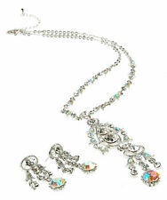 Costume Jewellery Swarovski Elements Necklace Earring Set, Clear Crystal Sets