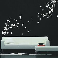 Stylish Hummingbird And Flower Wall Art/Wall stickers/wall Decals -- PD151