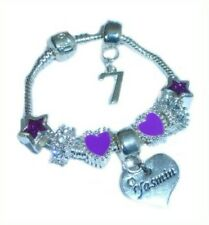 CHILDRENS/GIRLS PERSONALISED NAME/INITIAL & AGE CHARM BRACELET PURPLE & SILVER
