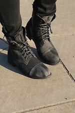BNIB LADIES WOMENS BIKER MILITARY STYLE LACE ANKLE FLAT BOOTS SIZE 3 4 5 6 7 8