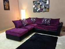 Oscar Purple and Black Corner Sofa with Floral Pattern and Stool with Sofa Bed