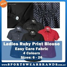 Ladies Short Sleeve Ruby Blouse Easy Care Business Corporate Shirt Sizes 6-26