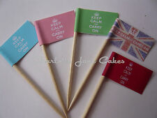 20 CUPCAKE FLAGS/TOPPERS - KEEP CALM AND CARRY ON