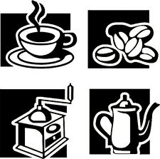 4 pc. Pot Grinder Beans Mug Vinyl Wall Decal
