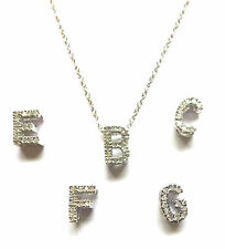 9ct White Gold Diamond Set Block Initial Pendant with or without 16 inch Chain