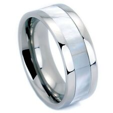Titanium Ring Wedding Band with Mother Of Pearl Inlay in Size 5-14