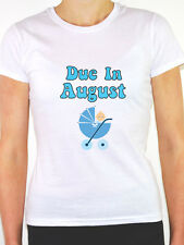 DUE IN AUGUST - Baby Boy / Pregnant / Pregnancy / Blue Themed Womens T-Shirt