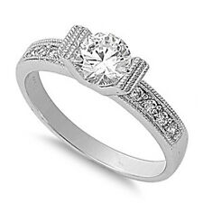 Silver Ring w/CZ- Clear CZ with  Boat Shaped Center-Clear CZ Band Flora Design