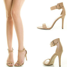 Natural Nude Open Toe Buckle Ankle Strap High Stiletto Heel Women Pump Sandal US