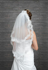 "New 2 Tier Ivory White Wedding Bridal Elbow Veil Length 32"", Lace Edge & Pearls"