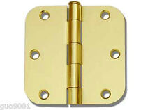 "Polished Brass 3.5""X3.5"" w 5/8"" Radius Round Door Hinge interior 3 1/2 Inch Gold"