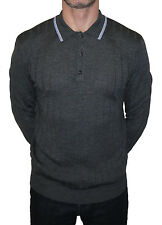 ART GALLERY CLOTHING GREY KNITTED RIBBED WOOL POLO MODS RETRO SCOOTER 60'S SOUL