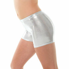 Metallic Gymnastic Shorts - Silver Shiny Lycra Dance Short - Metallic Hot Pants