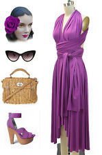 MAGENTA Multi-Way Wear INFINITY Marilyn HALTER Strapless 1Shoulder Sun Dress