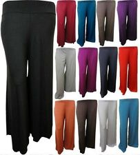 NEW WOMENS PLUS SIZE PLAIN  PALAZZO TROUSERS WIDE LEG PANTS LEGGINGS 8-16