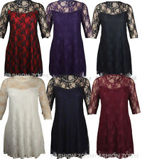 WOMENS PLUS SIZE 3/4 SLEEVE FLORAL LACE PONTE DRESS EVENING PARTY DRESS 14-28
