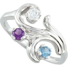Sterling SILVER Mother's Birthstone Ring 1-5 Stones, Moms family Jewelry Ring