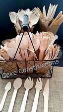 25 100 PACKS FORKS SPOONS KNIVES DISPOSABLE PARTY WOODEN CUTLERY CATERING XMAS