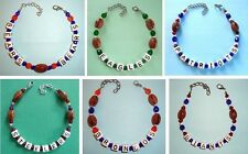 Choose Team ANKLET or Bracelet Football 9-11in Jewelry Quality NO Plastic Beads