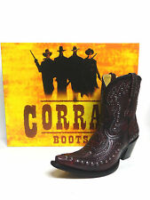 Wine/ Black In-lay Studs ~Corral Ladies Western Boots G1075 Short Top Artistic