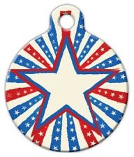 PATRIOTIC STAR - Custom Personalized Pet ID Tag for Dog and Cat Collars