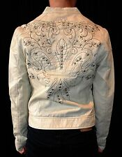 NWT ARCHAIC AFFLICTION womens studded PLEATHER MOTO JACKET ivory *S, M