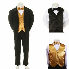 New Baby Boy Formal Wedding Party Black Suit Tuxedo + Gold Vest Bow Tie Set S-4T