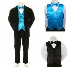 Baby Boy Formal Wedding Party Black Suit Tuxedo + Turquoise Vest Bow Tie sz S-4T