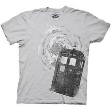 DR DOCTOR WHO Ice Distress Tardis Swirling Licensed T-Shirt Grey short sleeve